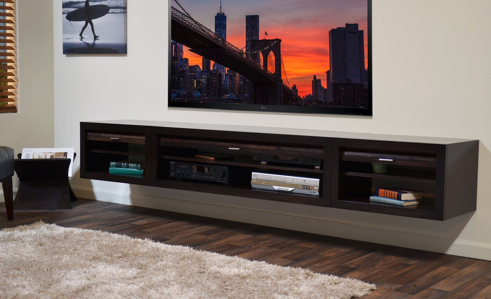 Rectangle Black Solid Wood Floating Entertainment Shelves Under .