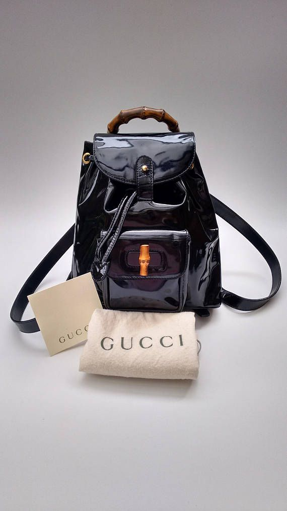Gucci Bamboo, Vintage Gucci, Black Patent Leather, Dust Bag, Leather  Backpack, 0bdce8d5a4