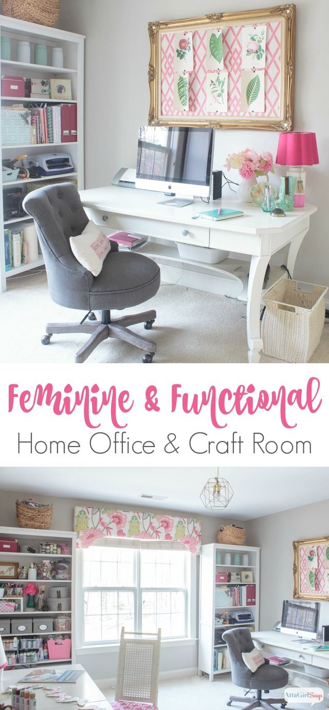 Form meets function in this gorgeous space a combination craft room and feminine home office click to take a virtual tour of 25 beautiful craft rooms and