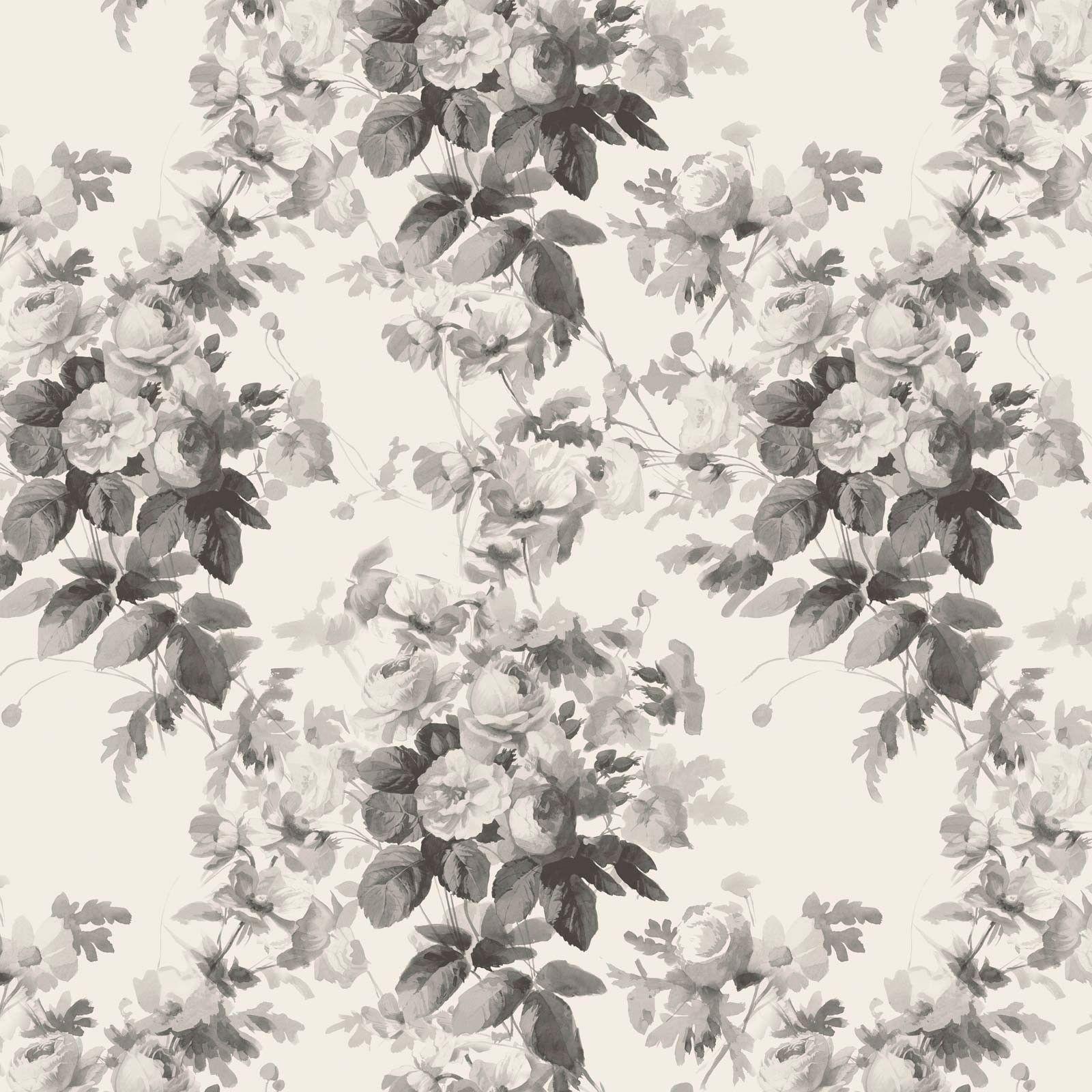 LONDON ROSE Wallpaper Smoke Grey in Textile printed