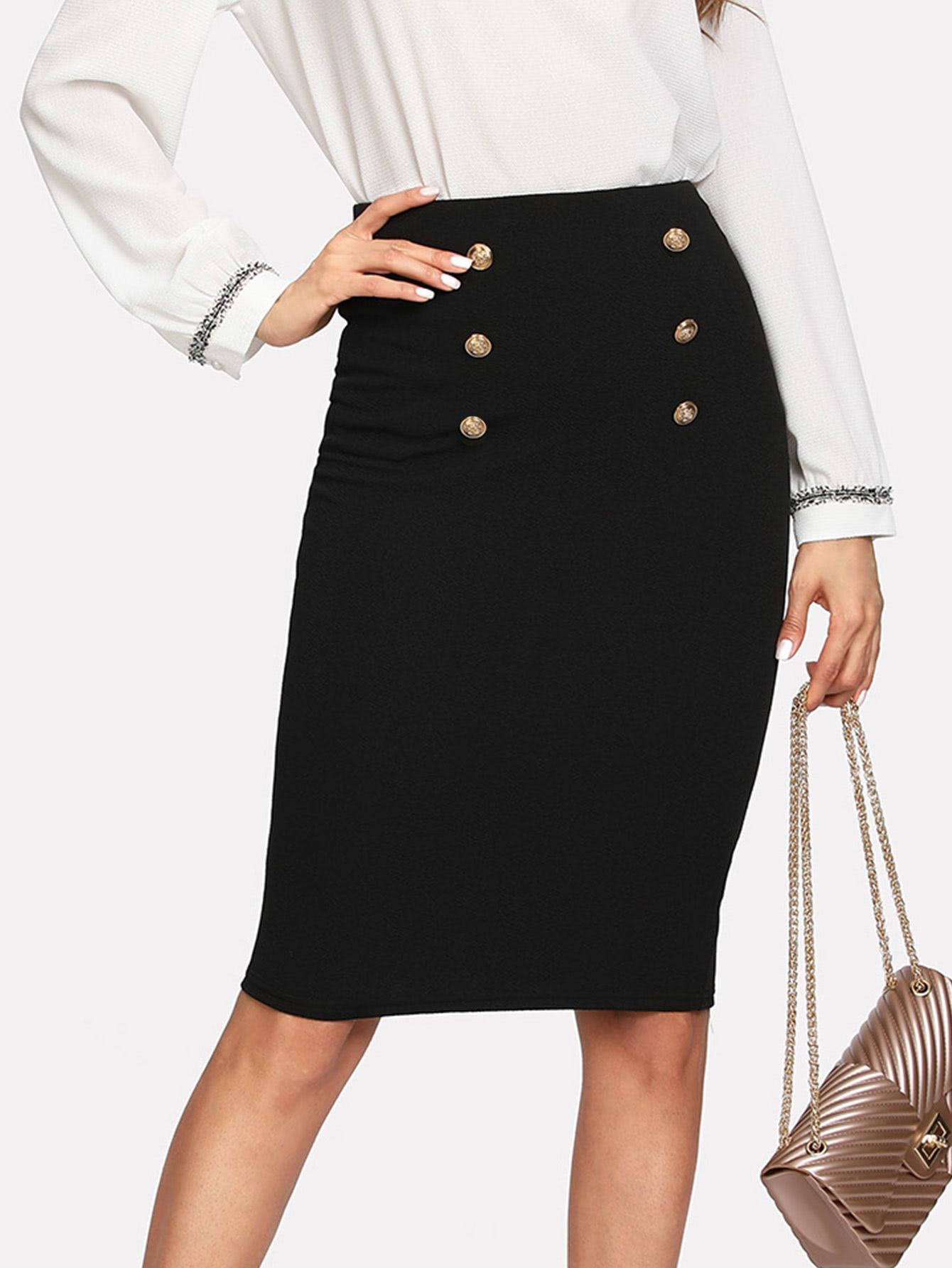 03a37c62787b Shop Double Button Pencil Skirt online. SheIn offers Double Button Pencil  Skirt & more to fit your fashionable needs.