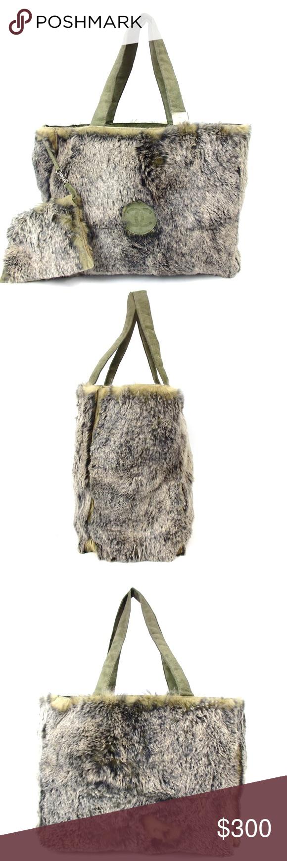 bdba3747ec0a Circa Chanel Lapin Rabbit Fur Tote Bag with Pouch A circa 2000 Chanel Lapin  rabbit fur tote with pouch. This dyed rabbit fur handbag features a green  suede ...