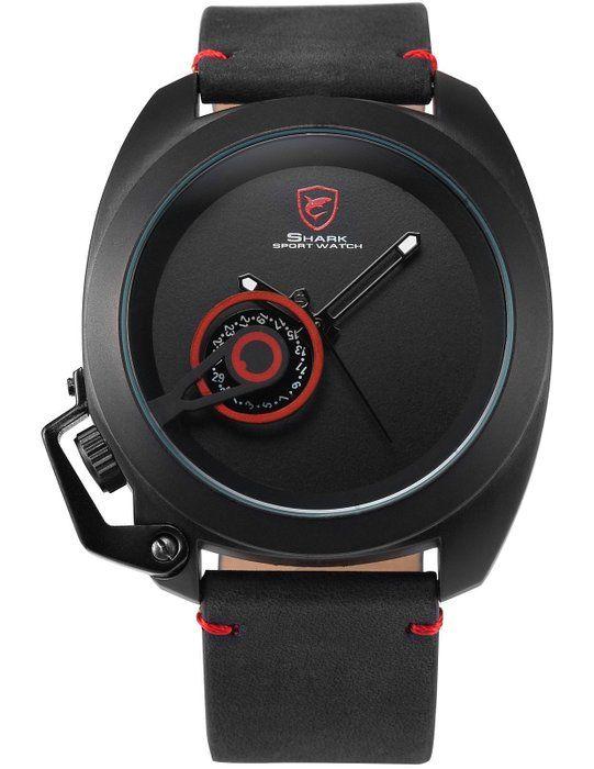 SHARK Reloj Hombre Analógico de Cuarzo, Correa de Cuero Negro SH446