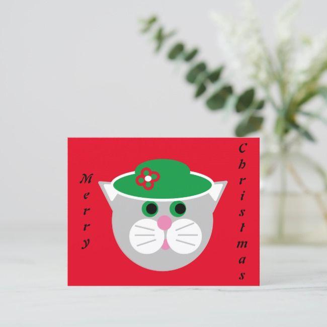 Christmas Lady Cat Flat Card