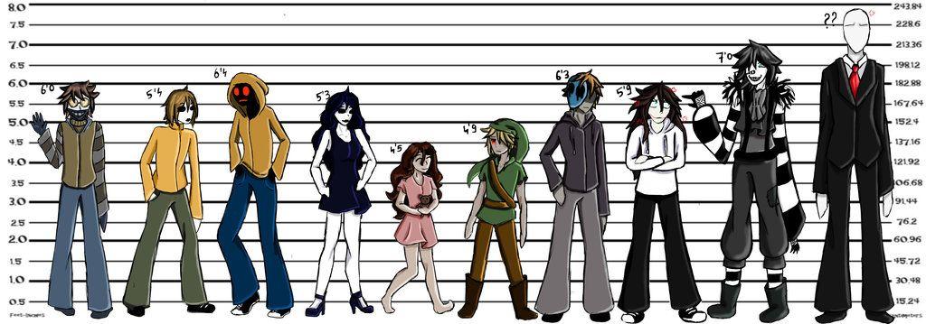 Creepypasta Height Chart   CreepyPasta   Creepypasta, Creepypasta