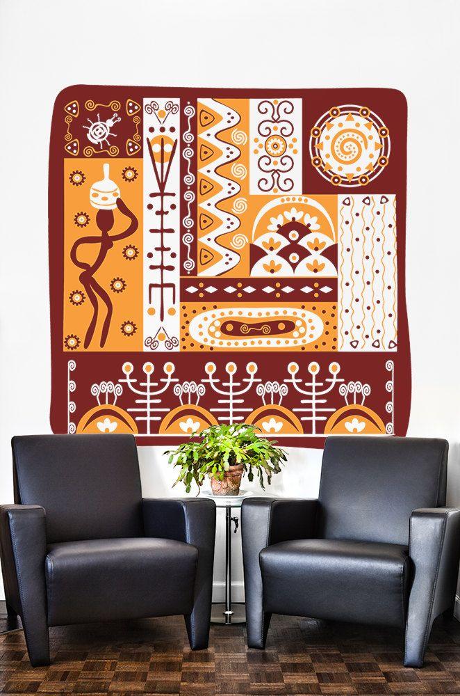 African Ornamental 2 Color Design Ethnic Wall Art Tribal Decor ...