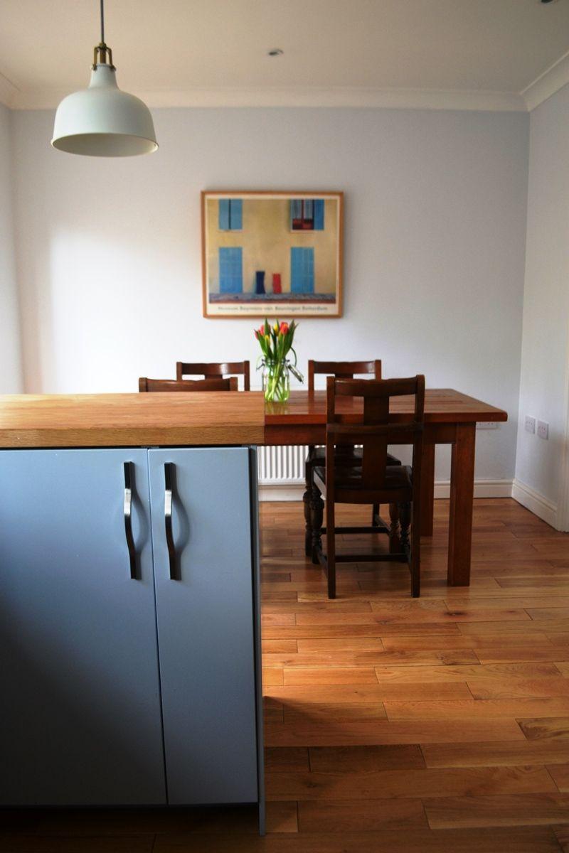 grey ikea veddinge kitchen, wood floor, ikea ranarp pendant light
