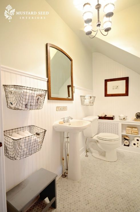 Mustard Seed Interiors Bathrooms Benjamin Moore Gray Owl Chair Rail Beadboard Backsplash Marble Hexagon Tiles Floor Vintage Wire Baskets