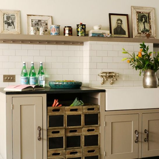 Mushroom Cabinets With White Walls Like The Natural Wood This