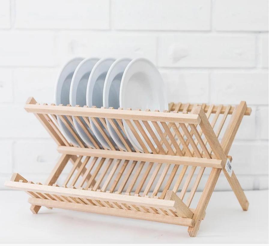 beechwood dish drying rack wooden