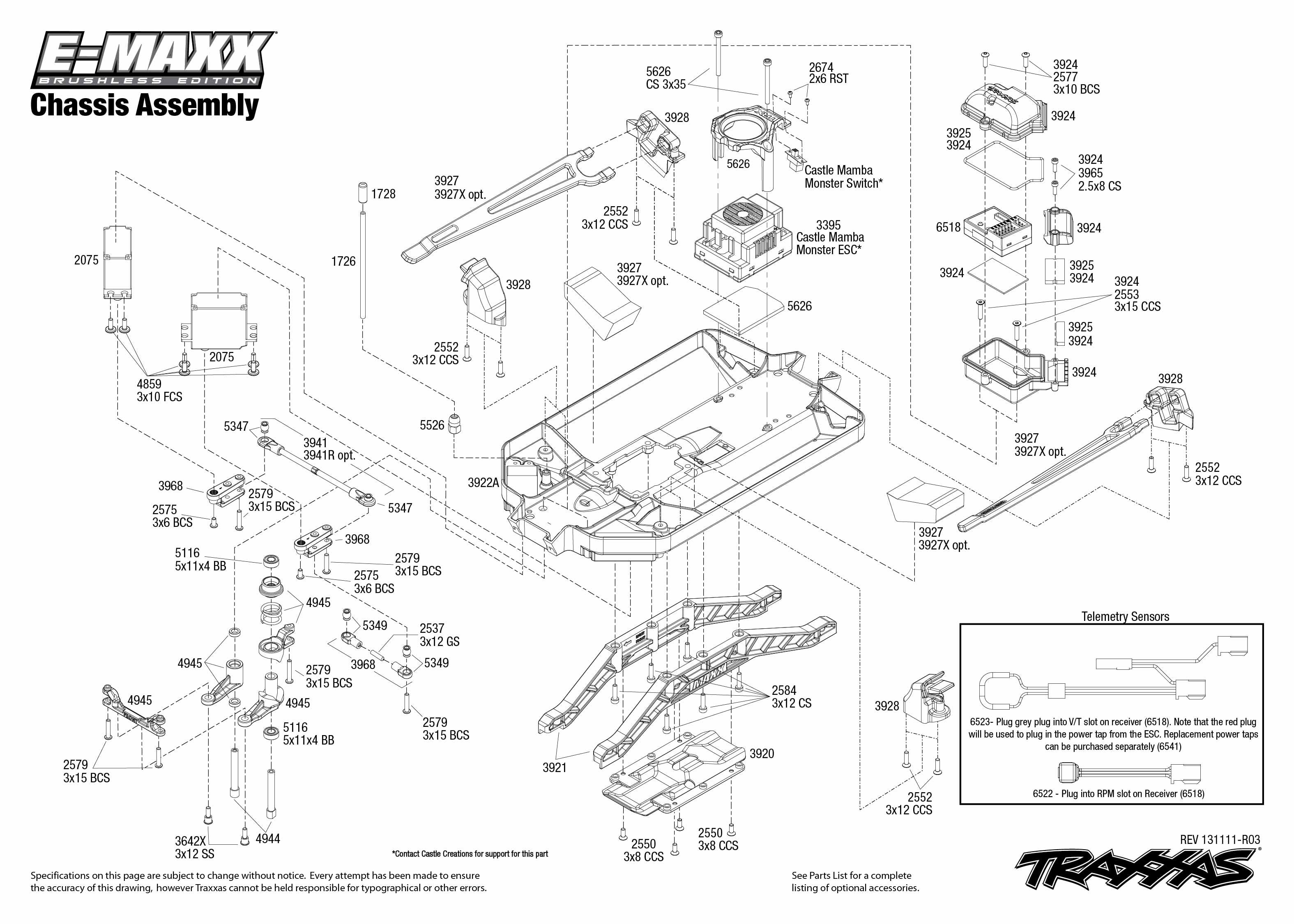 traxxas emaxx parts diagram brushless\ | 3908 Chassis Exploded ...