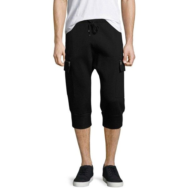 Helmut Lang Cropped Cargo Track Pants ($217) ❤ liked on Polyvore featuring men's fashion, men's clothing, men's activewear, men's activewear pants and black