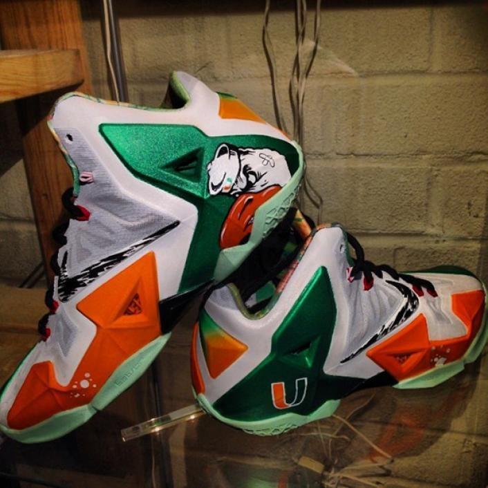 The University of Miami has been a long time college football powerhouse.  Dez Customz pays homage to 'The U' by creating this Nike LeBron 11