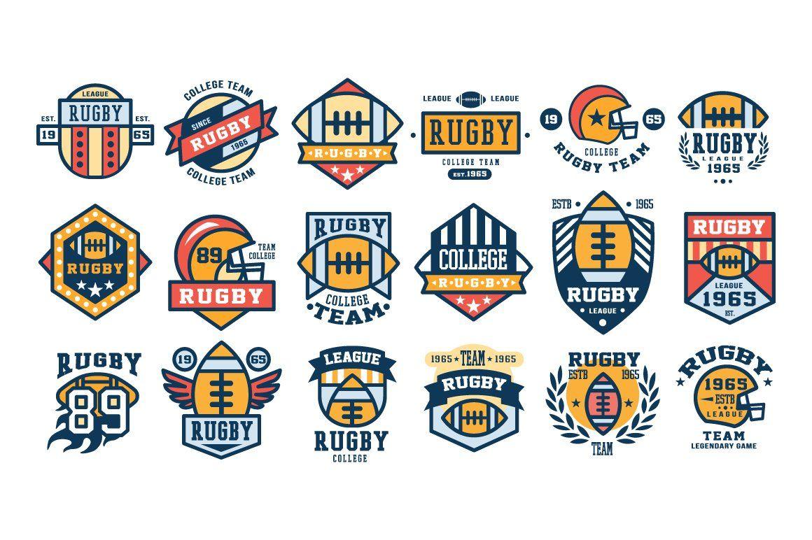 Set Of Rugby Club Emblems Logo Design Set Team Logo Design Rugby Club