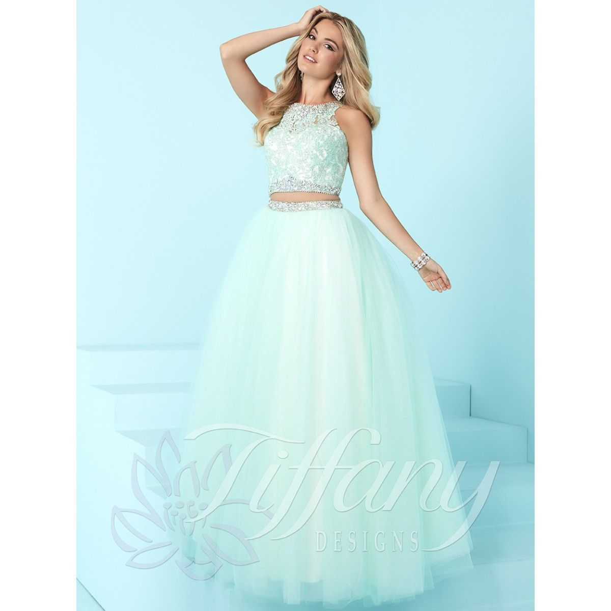 Tiffany Designs 16257 two piece ball gown dress for prom or formal ...