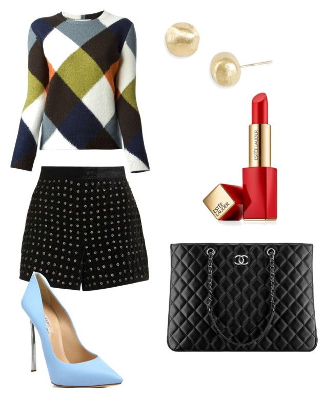 """shorts and heels"" by bridgnawa on Polyvore featuring Topshop, Casadei, Valentino, Marco Bicego, Chanel and Estée Lauder"