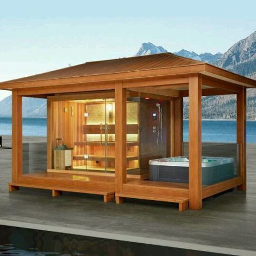 luxus sauna poolhaus auch ohne whirlpool ebay pavillon. Black Bedroom Furniture Sets. Home Design Ideas