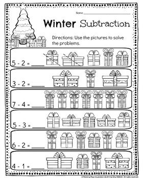 Kindergarten Math And Literacy Printables December Kindergarten Subtraction Worksheets Literacy Worksheets Subtraction Kindergarten