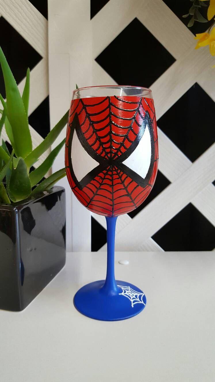Spiderman Wine Glass Wine Glass Glass Glass Painting