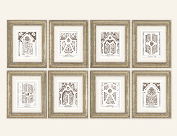 Set of 8 Antique French Garden Plans In Sepia Sea by paperwords11 – Antique Garden Plans