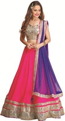 3c4f9c1852a Meena Bazaar Self Design Women s Lehenga Choli - Buy Magenta Meena Bazaar  Self Design Women s Lehenga Choli Online at Best Prices in India