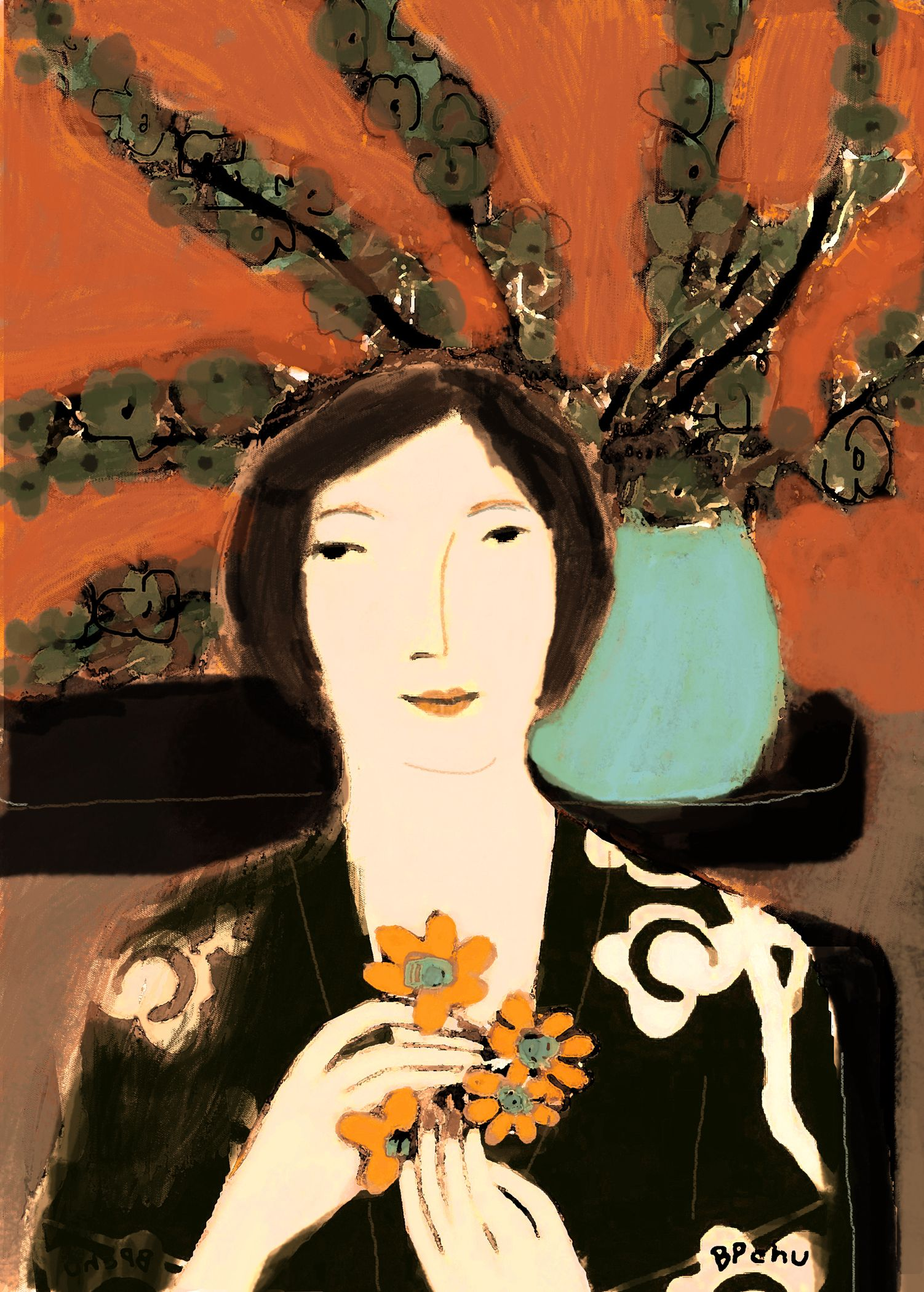 Lady with Yellow Flowers / Barbara Perrine Chu