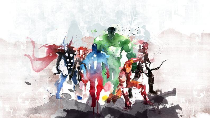 Colourful Avengers Characters  Hulk Iron Man Captain | Etsy
