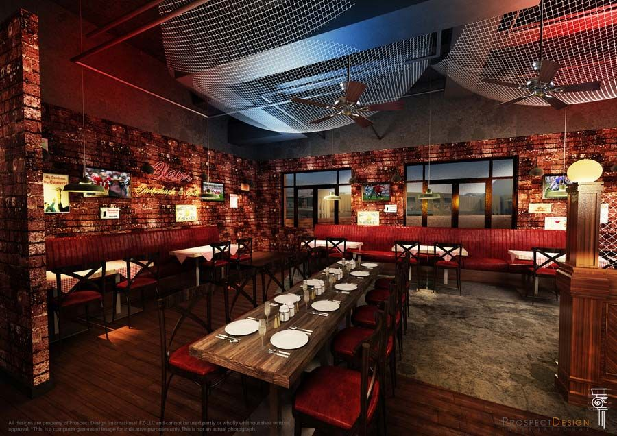 Computer Generated Interior Image Of Claw Bbq Restaurant With