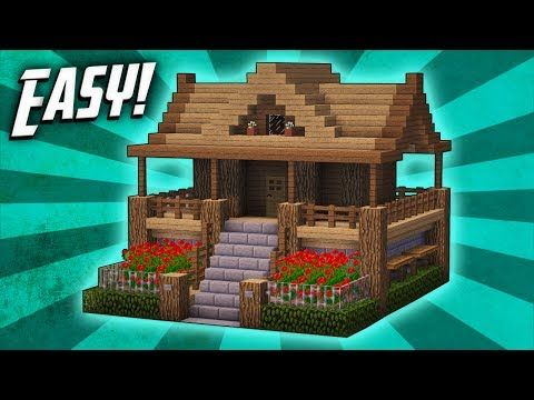 Minecraft How To Build A Survival Starter House Tutorial 7 Youtube Easy Minecraft Houses Minecraft Small House Cute Minecraft Houses
