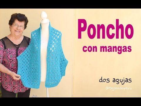 5) Poncho abierto con mangas en tejido recto a dos agujas (S, M y L ...