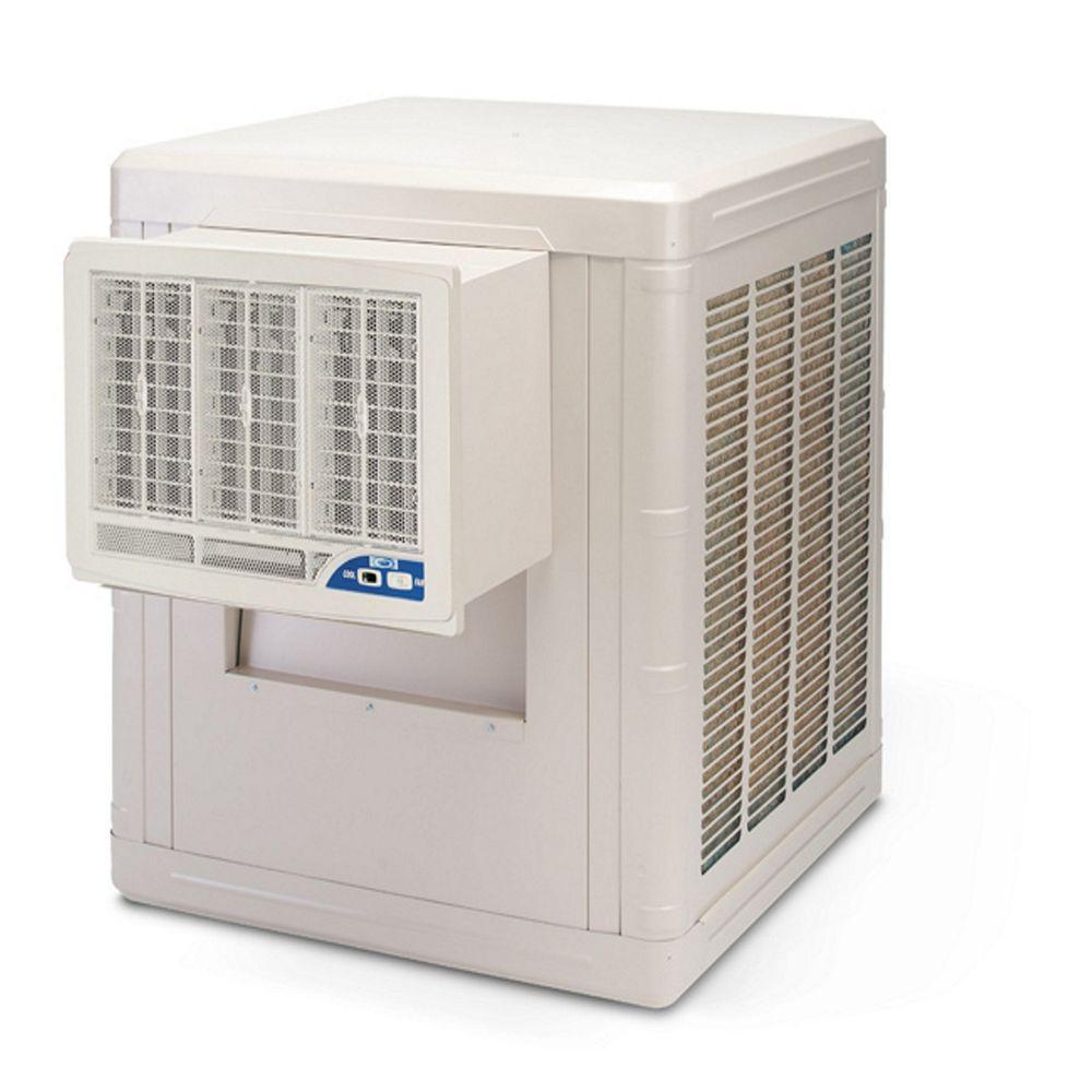 Frigiking 4000 Cfm 2 Speed Front Discharge Window Evaporative Cooler For 1000 Sq Ft With Motor Beige Evaporative Cooler Air Conditioning Units Cooling Unit