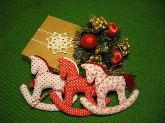Textile Christmas ornaments fabric hanging horse by mammyrests ...