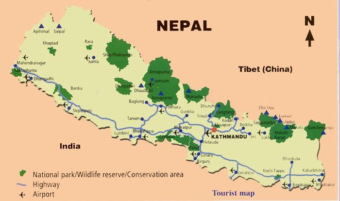 nepal: mape of nepal and highest peak of the world mounteverestMap ...