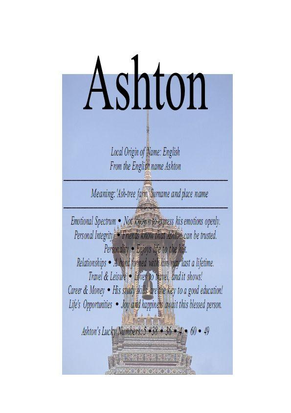 Ashton name means Ash-tree farm   Names with meaning, Tree ...