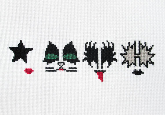 Kiss rock band face paint counted cross stitch pattern pdf items similar to kiss rock band face paint counted cross stitch pattern pdf download maxwellsz