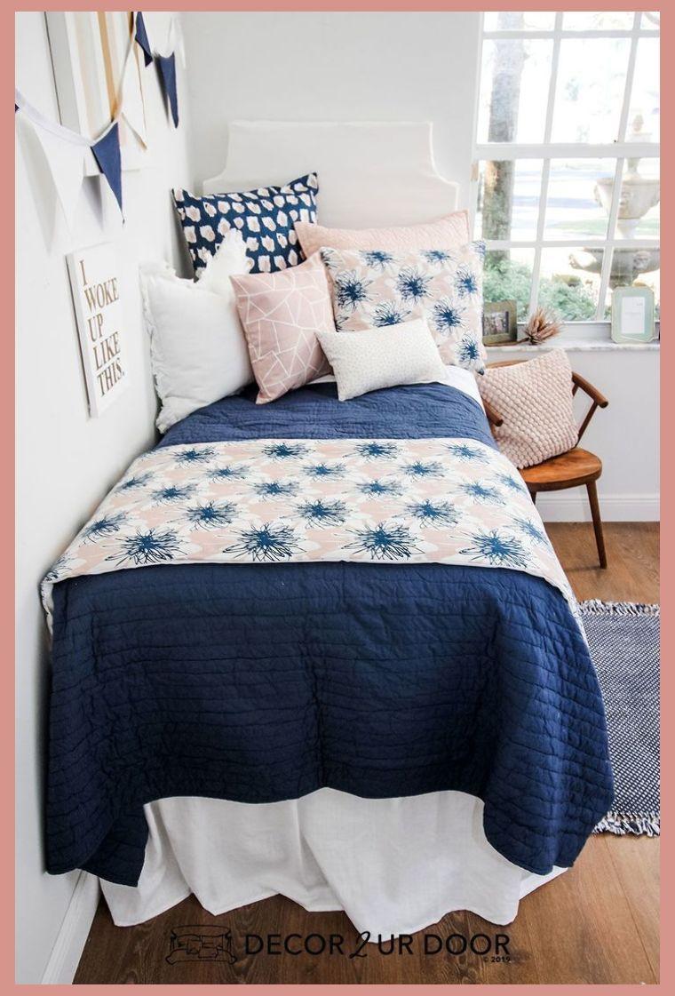 Blush Linen Navy Floral Dorm Bedding Set | Dorm Room Ideas Tumblr | Dorm Room Ideas For Guys ... #dormroomideasforguys