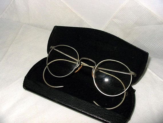 Vintage Eyeglasses | 1930s 1940s Reading Glasses | Eyeglass Case Art Deco | Men or Women