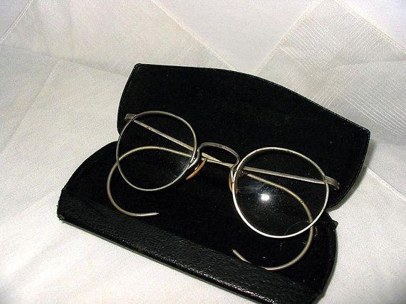 Vintage Eyeglasses | 1930s 1940s Reading Glasses | Eyeglass Case Art Deco |  Men or Women