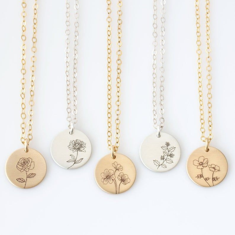 Birth flower necklace mom necklace birth month necklace