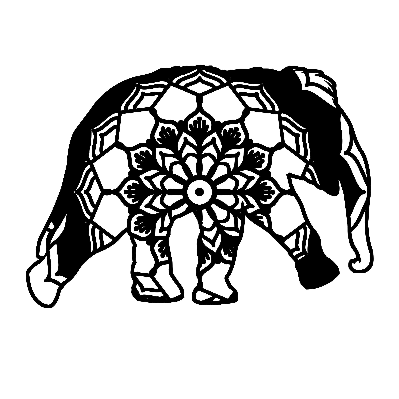 Baby Elephant Mandala Animal Svg T-Shirt Digital | Baby ...