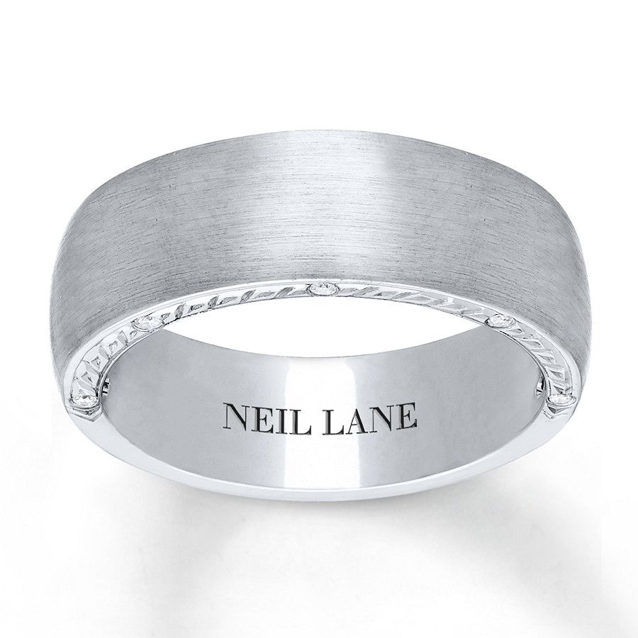 This Generous Men S Wedding Band From The Neil Lane Men S Collection Epitomizes Sophistication With Rings For Men White Gold Band Jared The Galleria Of Jewelry