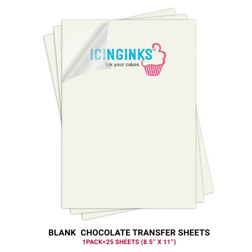 Icinginks Prime Blank Chocolate Transfer Sheets A4 Size Pack Of 25 Transfer Sheets 8 5 X Chocolate Transfer Sheets Edible Ink Printer Edible Ink Printing