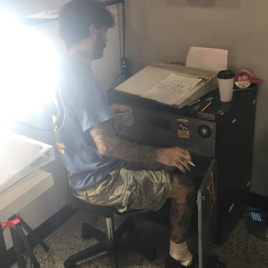 Ole Limping @motormycle working on the design for the new shop t-shirts. #tattoos #tattoo #ink #inked #tattooartist #tattooed #art #tattooart #tattoolife #tattooing #tattooist #artist #tattooer #love  #tatuajes #lakeworth #lakeworthbeach #westpalmbeach #palmsprings #wellington #boyntonbeach #solidimagelakeworth