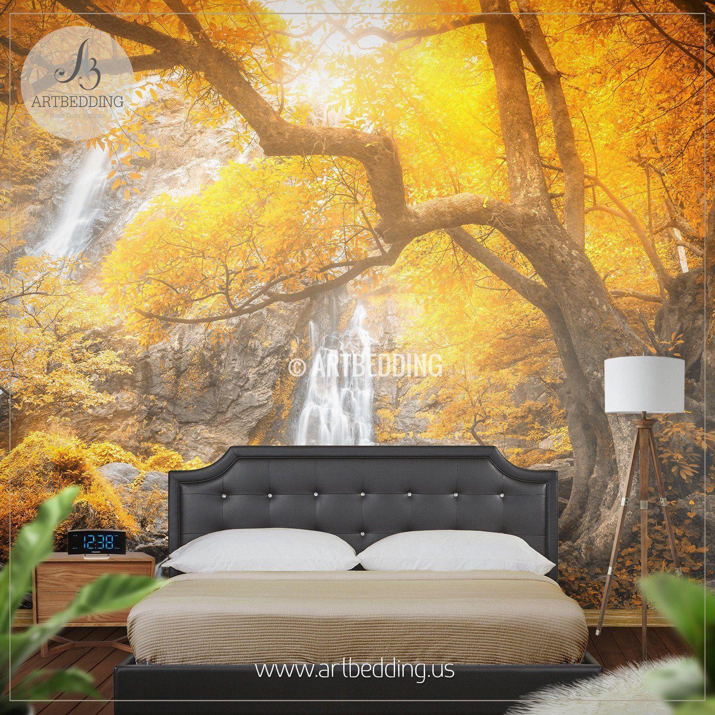 Autumn Waterfall Wall Mural, Photo wall Mural Self Adhesive Peel ...