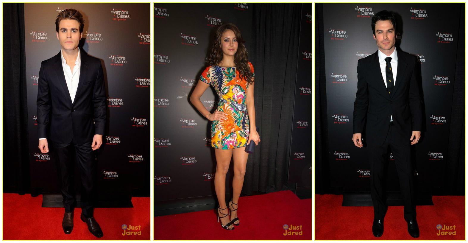 Paul Wesley, Nina Dobrev & Ian Somerhalder: #TheVampireDiaries 100th Episode Celebration