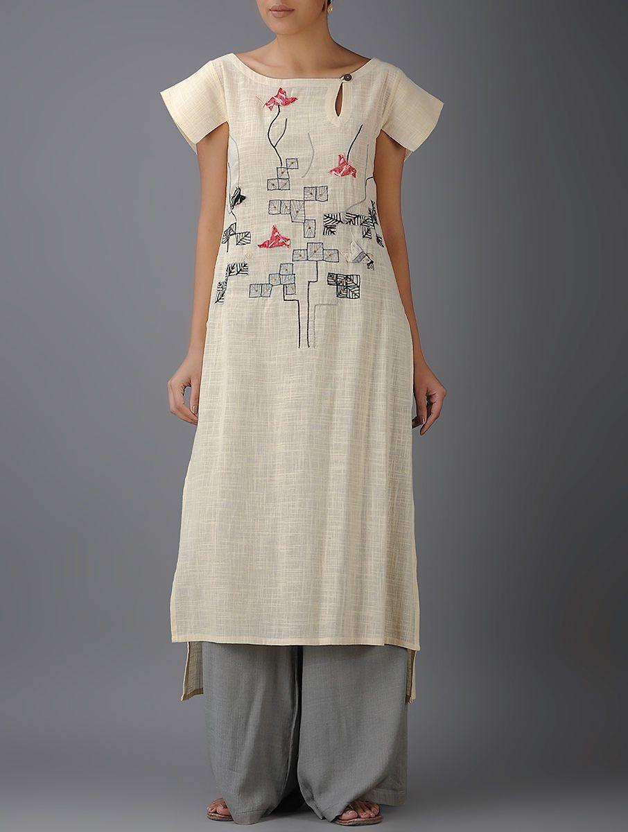 3f3202ea Buy Ivory Black Embroidered Cotton Kurta Handloom Slub Online at Jaypore.com