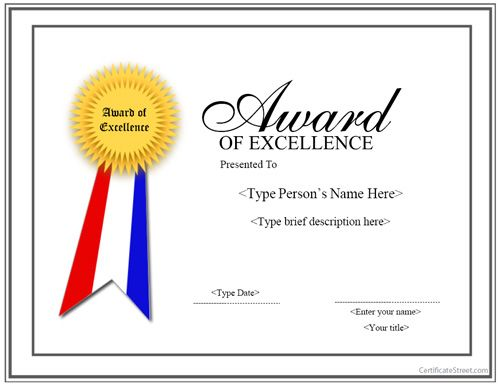 Special Certificate - Award for Excellence with Ribbon - best of recognition award certificate wording