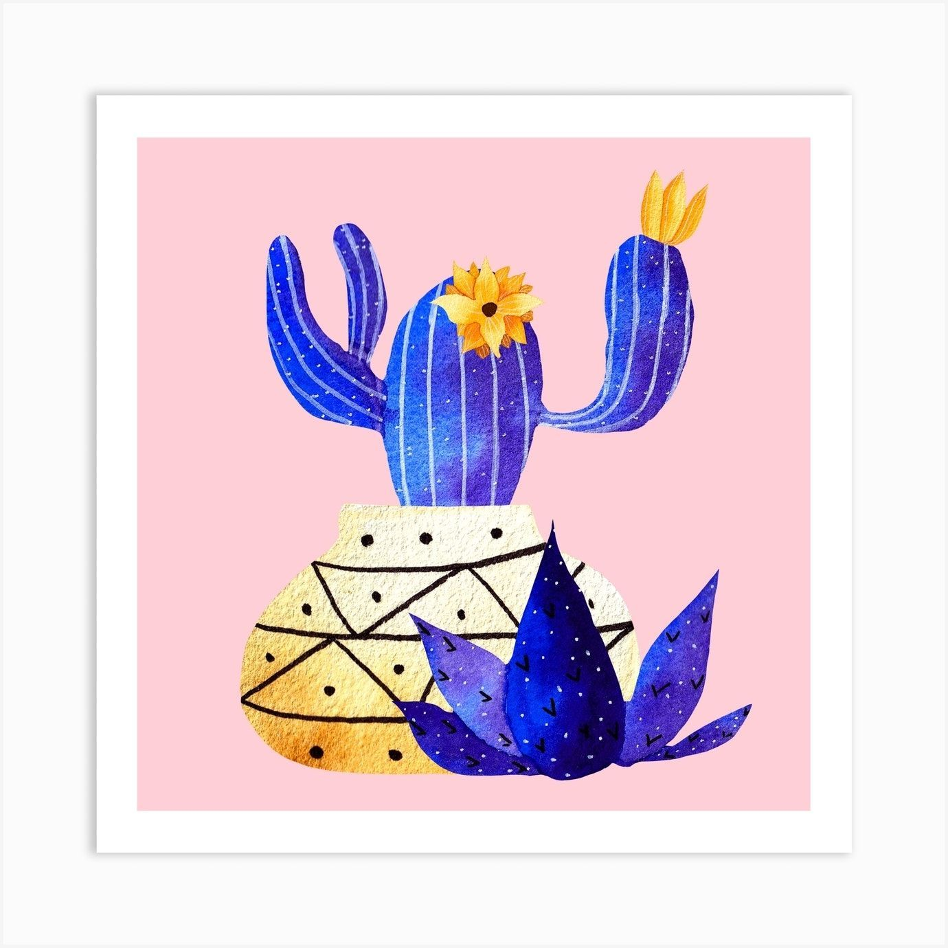 Golden Pot And Cute Cactus Square Art Print#art #cactus #cute #golden #pot #print #square