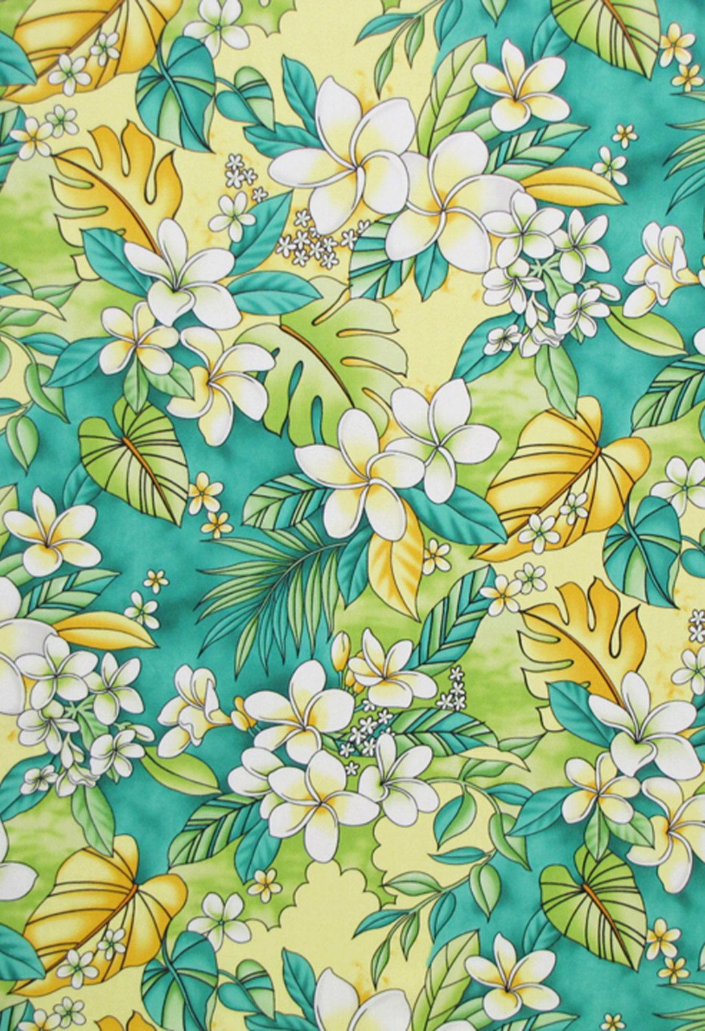 Tropical Floral On Shades Of Pale Yellow Learn More At