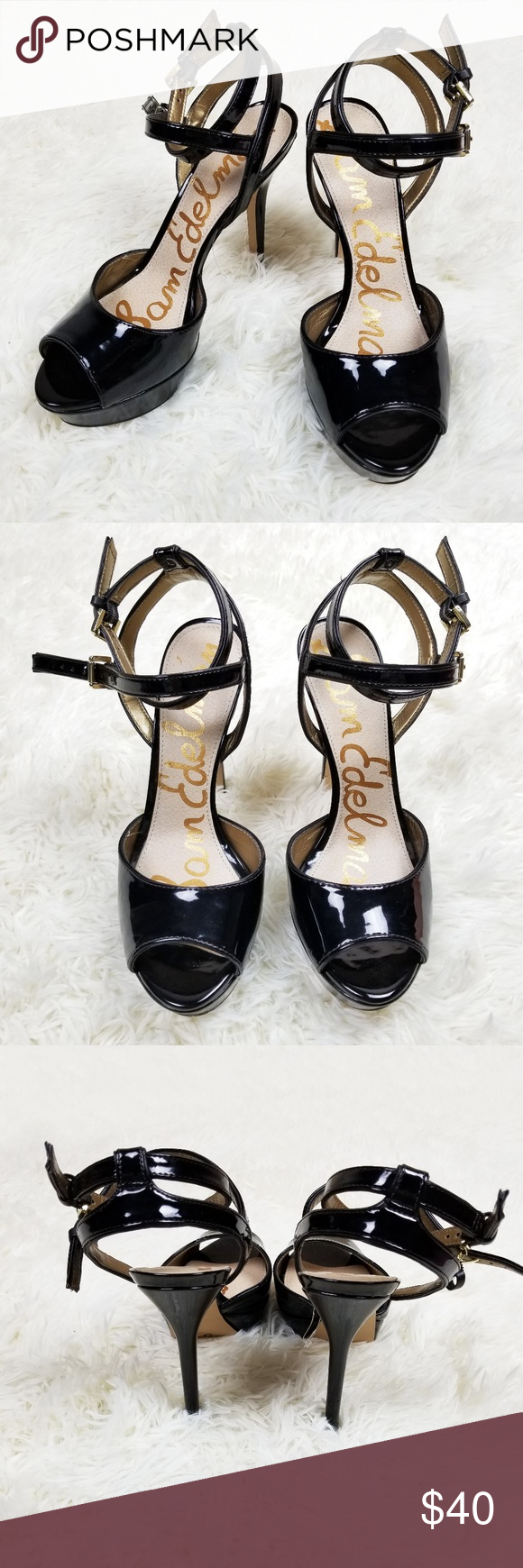 e656effb863 Sam Edelman Black Nadine Patent Leather Pumps Sz 8 Sam Edelman Nadine style  platform stiletto heels
